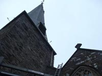 Repairing the weather vane on St James Church